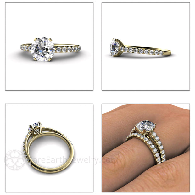 Rare Earth Jewelry Moissanite Engagement Ring Round 2ct Forever One Solitaire 14K or 18K Gold