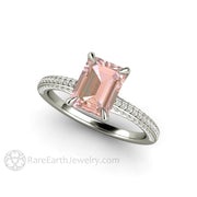 Light Pink Sapphire Ring Emerald Pave Setting with Claw Prongs in 14K White Gold by Rare Earth Jewelry