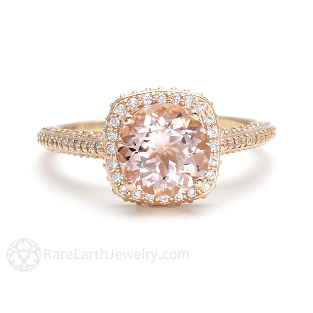 Rare Earth Jewelry 18K Rose Gold Peach Morganite Bridal Ring Round Cut Diamond Halo