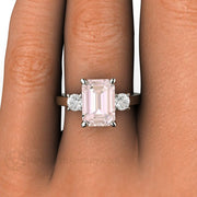 Rare Earth Jewelry Pink Emerald Morganite and Diamond Right Hand Ring on Finger