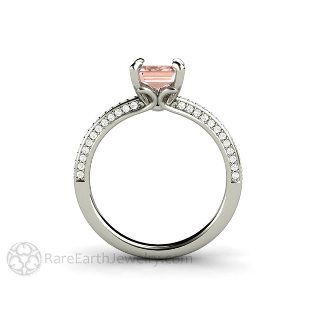Light Pink Sapphire Engagement Ring on Delicate Pave Diamond Band by Rare Earth Jewelry