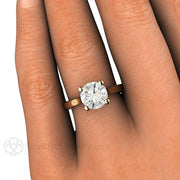 Rare Earth Jewelry 2ct Moissanite Solitaire Right Hand Ring on Finger Rose Gold 4 Prong