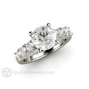 Rare Earth Jewelry 2ct Solitaire Moissanite Engagement Ring White Gold 4 Prong Setting