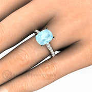 Rare Earth Jewelry 3 Carat Cushion Aquamarine Solitaire Right Hand Ring on Finger Diamond Accented