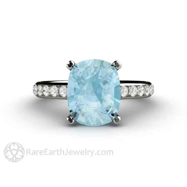 Rare Earth Jewelry 3 Carat Cushion Cut Aquamarine Ring Double Prong Pave Diamond Accent Stones Gold or Platinum Cathedral Setting