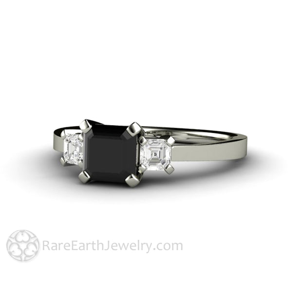 Rare Earth Jewelry 3 Stone Black Diamond Wedding Ring Asscher Cut 1 Carat Center Stone with White Diamond Side Stones