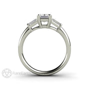 Rare Earth Jewelry 3 Stone Diamond Ring 14K White Gold Setting