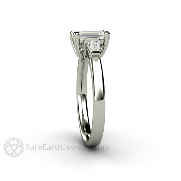 Rare Earth Jewelry 3 Stone Diamond Ring Right Hand or April Birthstone Emerald Cut with Baguettes