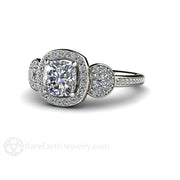 Rare Earth Jewelry Forever One Moissanite Halo Ring Cushion Cut Engagement or Anniversary 14K 18K or Platinum