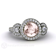 Rare Earth Jewelry 3 Stone Morganite Halo Engagement Ring