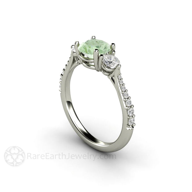 Green Moissanite Anniversary Ring with Diamond Accent Stones 14K Gold Rare Earth Jewelry