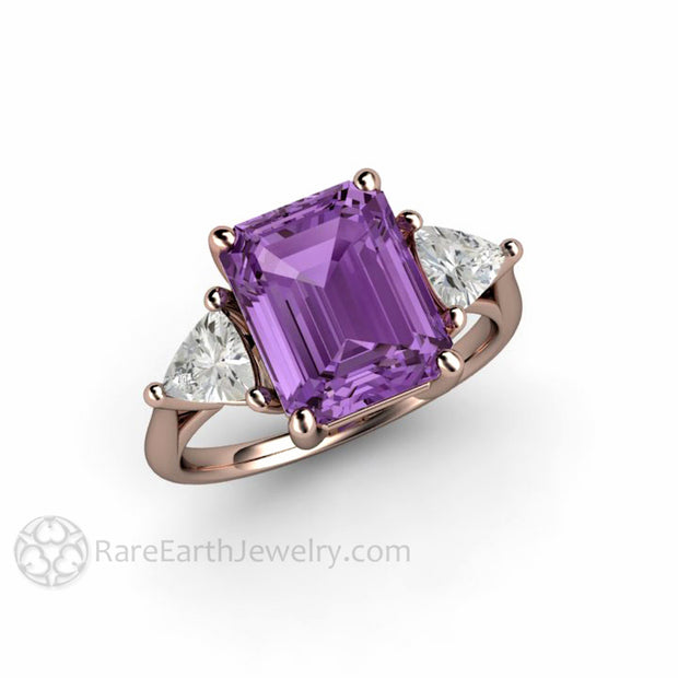 Rare Earth Jewelry 14K Rose Gold Emerald Sapphire Three Stone Ring Color Change and White Gemstones