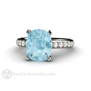 Rare Earth Jewelry 3ct Aquamarine Solitaire Engagement Ring Cushion Cut Double Prong Pave Diamond Setting 14K or 18K