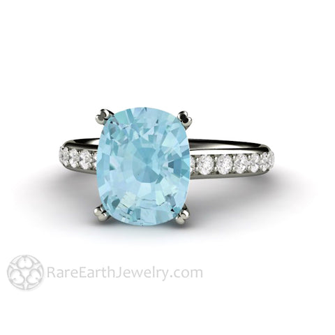 Cushion Cut Aquamarine Engagement Ring Solitaire with Diamonds