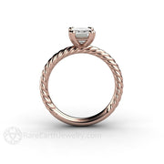 Rare Earth Jewelry Rose Gold Emerald Forever One Moissanite Ring Wedding Anniversary or Bridal