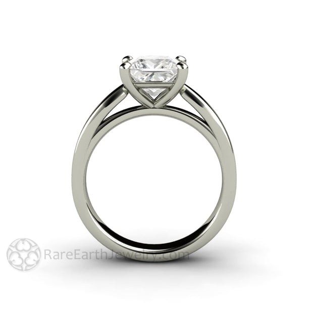 Rare Earth Jewelry 4 Prong Princess Moissanite Solitaire Ring 14K 18K Gold or Platinum