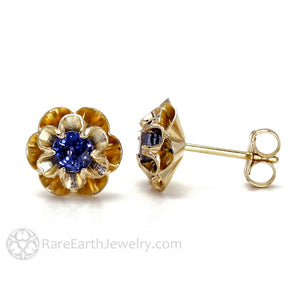 Rare Earth Jewelry Blue Sapphire Earrings 14K Gold Posts Studs Floral Design