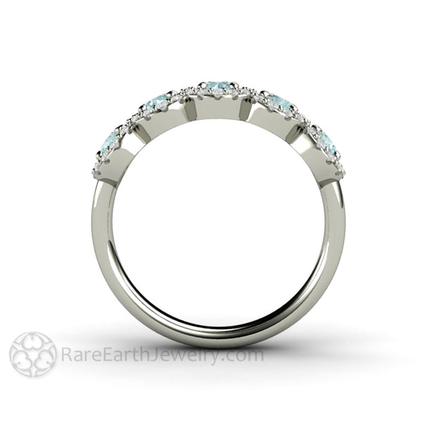 Rare Earth Jewelry 5 Stone Halo Setting Aquamarine and Diamond Gemstone