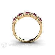 Rare Earth Jewelry Five Stone Ruby Diamond Halo Band Stacking Ring