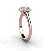 Rare Earth Jewelry Diamond Wedding Ring with a Cluster Diamond Halo 14K or 18K Rose Gold