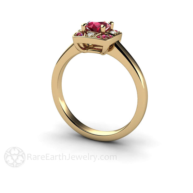 Rare Earth Jewelry Vintage Style Art Deco Ruby and Diamond Ring 14K or 18K Gold