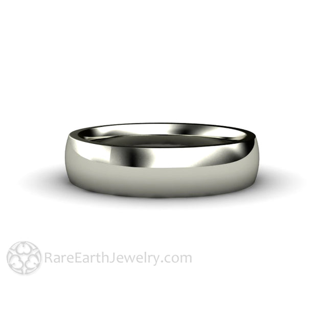 Rare Earth Jewelry 5mm Solid White Gold Wedding Ring Classic Plain Band Curved Half Round