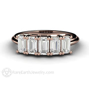 Rare Earth Jewelry Emerald White Sapphire Wedding Band Rose Gold 5 Stone Setting