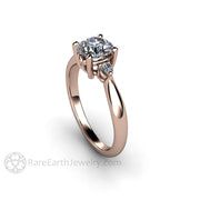 Rare Earth Jewelry 6.5mm Round Forever One Moissanite Engagement Ring Diamond Sides Rose Gold 3 Stone Setting