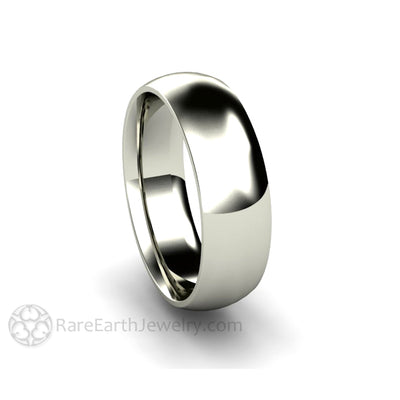 Rare Earth Jewelry 6MM White Gold Wedding Ring Curved Dome Classic Design