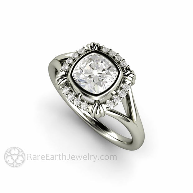 Rare Earth Jewelry Cushion Moissanite Halo Bridal Ring Vintage Bezel Split Shank 1ct