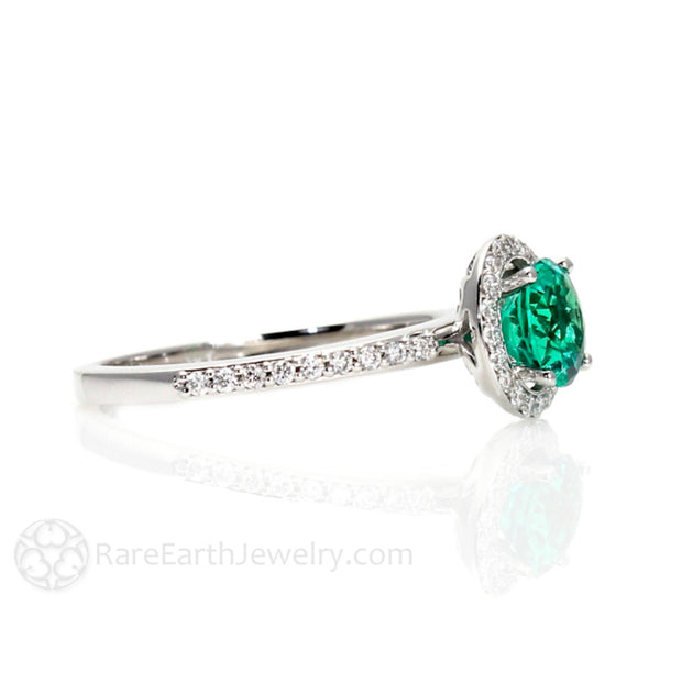 Rare Earth Jewelry Emerald Anniversary Ring 14K Gold Halo Setting with Diamond Accent Stones