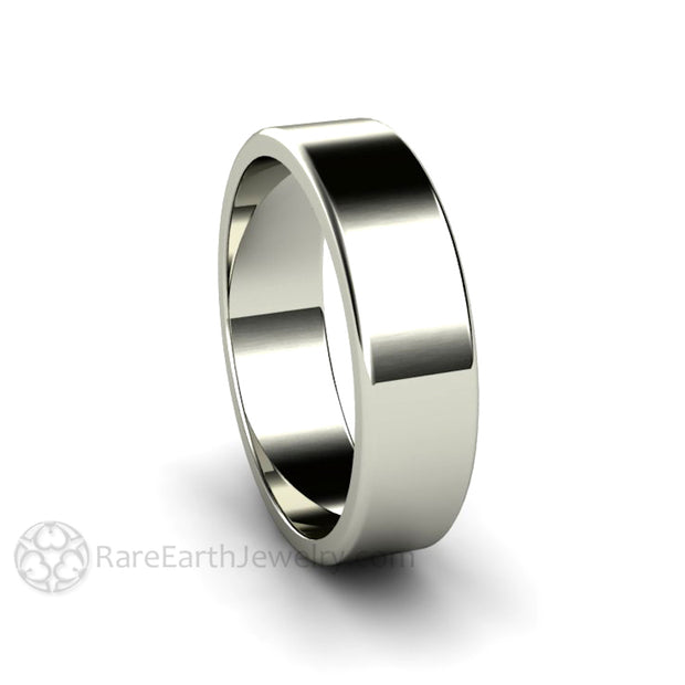 Rare Earth Jewelry 6mm Solid Gold Wedding Band Comfort Fit His and Hers Unisex Ring 14K White