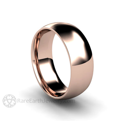 Rare Earth Jewelry 7MM Rose Gold Wedding Band for Men or Women Traditional Solid Gold Ring