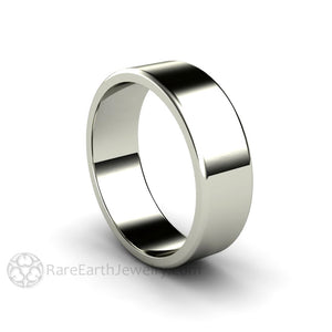 Rare Earth Jewelry 7MM Solid Gold Wedding Ring 14K Traditional Flat Band Comfort Fit