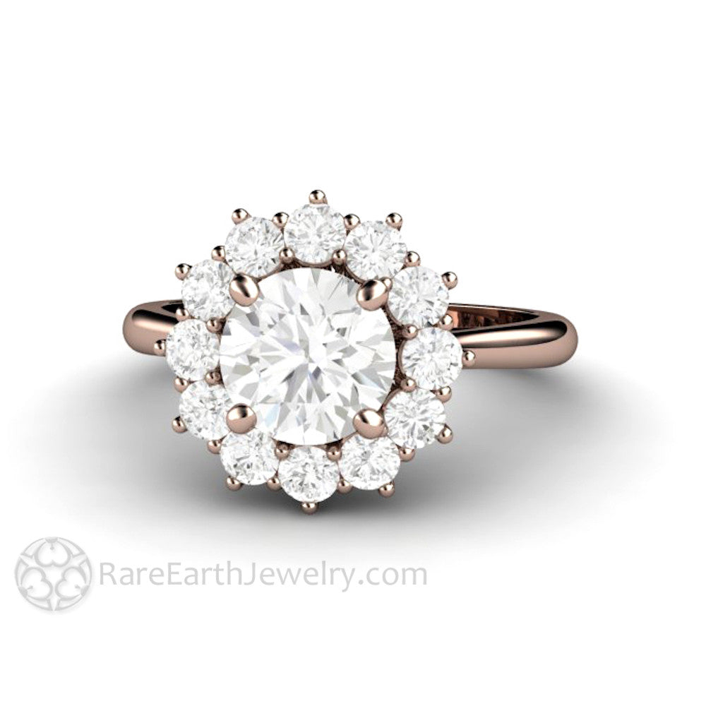 Moissanite Cluster Engagement Ring 7mm Round Forever One Colorless
