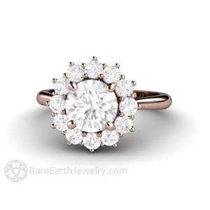 Rare Earth Jewelry 7mm Forever One Colorless Moissanite Engagement Ring Round Cluster Halo