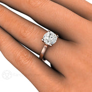 Rare Earth Jewelry 2ct Round Solitaire Forever One Moissanite Ring on Finger 4 Prong Setting