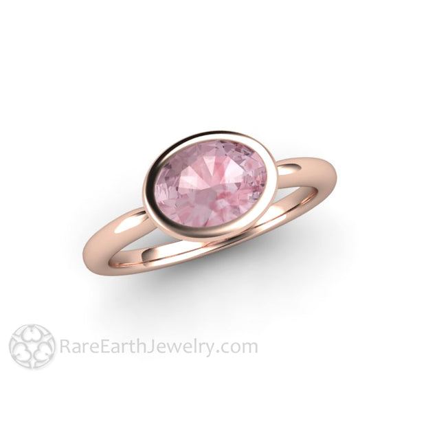 Rare Earth Jewelry 8x6mm Oval Peachy Pink Sapphire Wedding Ring 18K Rose Gold Bezel Solitaire