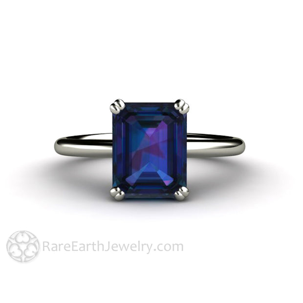 Rare Earth Jewelry 9x7mm Emerald Alexandrite Bridal Ring 14K White Gold Conflict Free Alternative