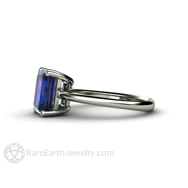 Rare Earth Jewelry Alexandrite Anniversary Ring 2.75 Carat Emerald Cut 14K or 18K Gold Setting