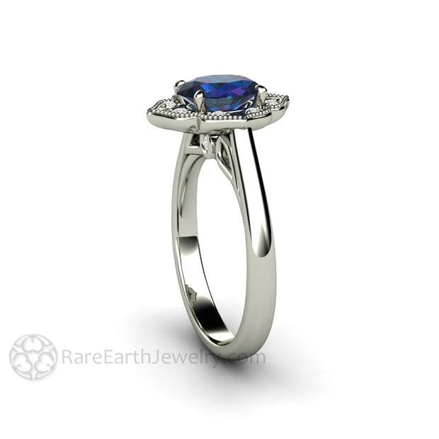 Rare Earth Jewelry Alexandrite Anniversary Ring or June Birthstone Oval Diamond Halo with Milgrain