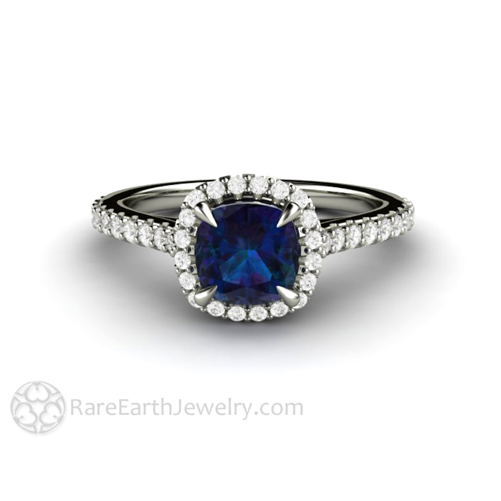 Rare Earth Jewelry Alexandrite Bridal Ring 1ct Cushion Cut with Conflict Free Diamond Halo and Accent Stones 14K Gold