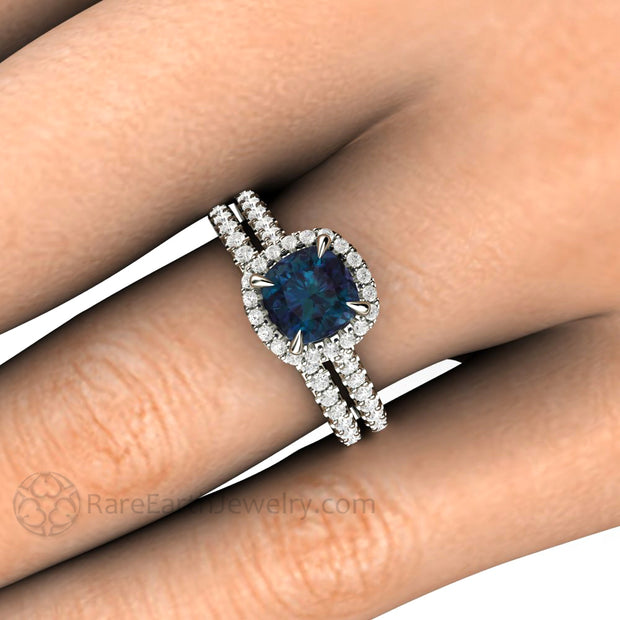 Alexandrite Halo Wedding Set on Hand 14K or 18K Gold Pave Diamond Halo by Rare Earth Jewelry
