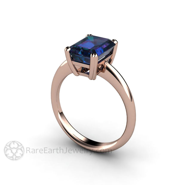 Rare Earth Jewelry Alexandrite Promise Ring June Birthstone 14K Rose Gold Emerald Cut Color Change Gemstone