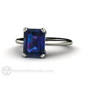 Rare Earth Jewelry Alexandrite Ring 2.75ct Emerald Cut Solitaire Double Prong Setting 14K or 18K White Gold