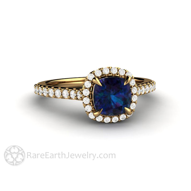 Alexandrite Ring June Birthstone Ring Cushion Cut Lab Grown Alexandrite in 18K Yellow Gold by Rare Earth Jewelry