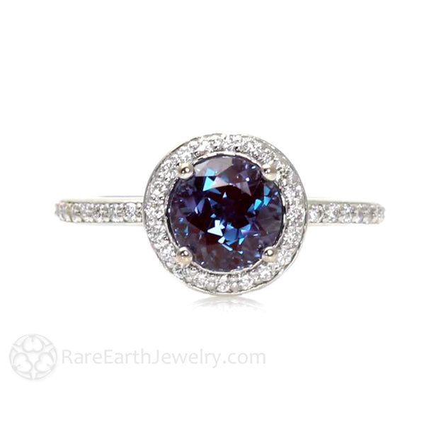Rare Earth Jewelry Alexandrite Ring Vintage Halo Setting