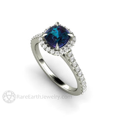 Rare Earth Jewelry Alexandrite Wedding Ring 14K White Gold Pave Diamond Accented Halo and Band