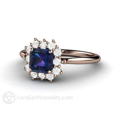 Rare Earth Jewelry Alexandrite Ring Diamond Halo Natural Gemstones 14K or 18K Gold