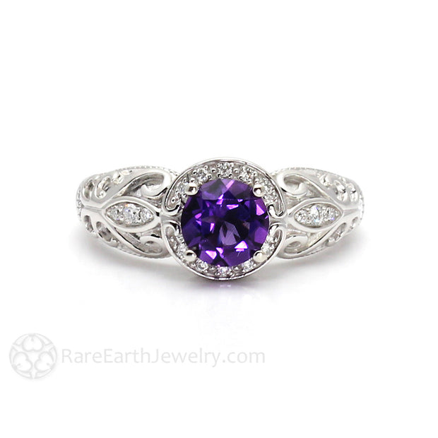 Rare Earth Jewelry Natural Purple Amethyst Ring Vintage Art Nouveau Style 14K with Diamonds